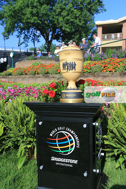 The winners Gary Player Cup on display at the 1st tee during Thursday's Round 1 of the 2013 Bridgestone Invitational WGC tournament held at the Firestone Country Club, Akron, Ohio. 1st August 2013.<br /> Picture: Eoin Clarke www.golffile.ie