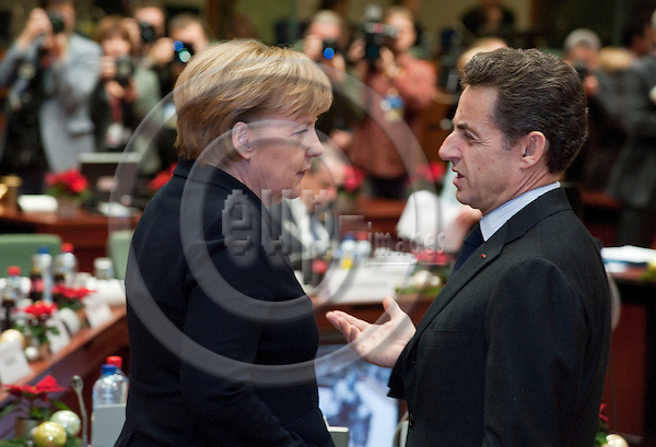 Brussels-Belgium - December 17, 2010 -- European Council, EU-summit under Belgian Presidency; here, Angela MERKEL (le), Federal Chancellor of Germany, with Nicolas SARKOZY (ri), President of France -- Photo: Horst Wagner / eup-images