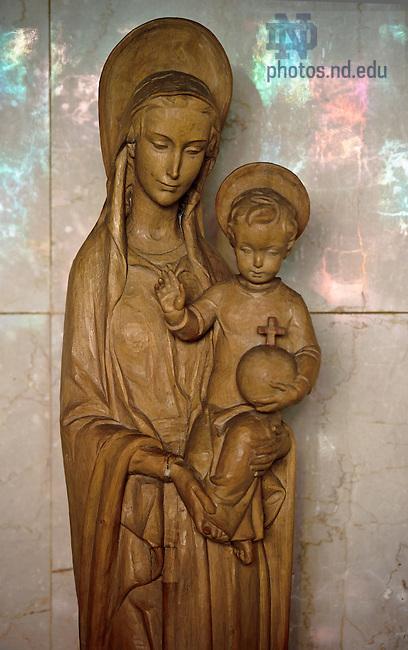 Nov, 29, 2012; Madonna and Child statue in Moreau Seminary Chapel..Photo by Matt Cashore/University of Notre Dame