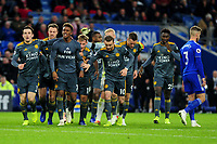 Demarai Gray of Leicester City celebrates scoring the opening goal during the Premier League match between Cardiff City and Leicester City at Cardiff City Stadium in Cardiff, Wales, UK. Saturday 3rd November 2018
