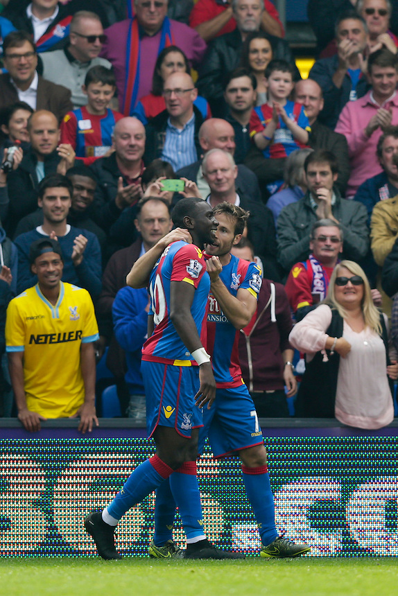 Crystal Palace's Yannick Bolasie celebrates scoring his sides first goal with Yohan Cabaye (right)<br /> <br /> Photographer Craig Mercer/CameraSport<br /> <br /> Football - Barclays Premiership - Crystal Palace v West Bromwich Albion - Saturday 3rd October 2015 - Selhurst Park - London<br /> <br /> &copy; CameraSport - 43 Linden Ave. Countesthorpe. Leicester. England. LE8 5PG - Tel: +44 (0) 116 277 4147 - admin@camerasport.com - www.camerasport.com