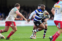 Beno Obano of Bath Rugby goes on the attack. Aviva Premiership match, between Bath Rugby and Harlequins on February 18, 2017 at the Recreation Ground in Bath, England. Photo by: Patrick Khachfe / Onside Images