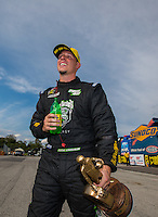 Sep 25, 2016; Madison, IL, USA; NHRA pro stock driver Alex Laughlin celebrates after winning the Midwest Nationals at Gateway Motorsports Park. Mandatory Credit: Mark J. Rebilas-USA TODAY Sports