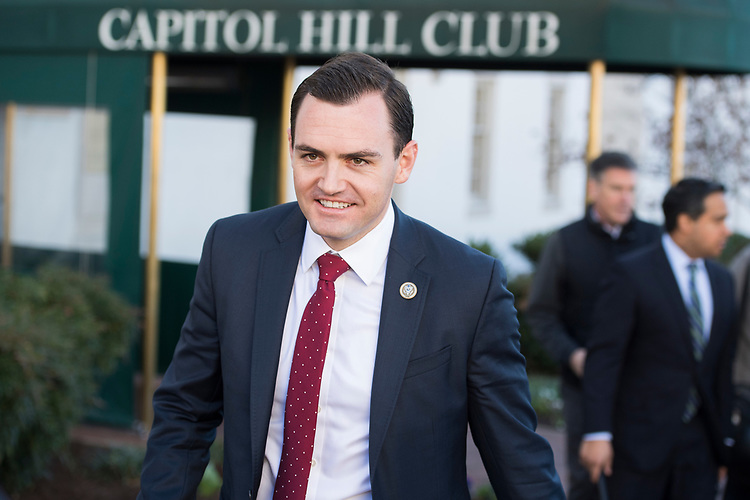 UNITED STATES - MARCH 8: Rep. Mike Gallagher, R-Wis., leaves a meeting of the House Republican Conference at the Capitol Hill Club, March 8, 2017. (Photo By Tom Williams/CQ Roll Call)
