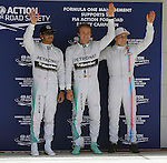 Formula 1 United States Grand Prix 2014, 31.10.-02.11.14<br /> Qualifying: 2. Lewis Hamilton (GB#44), Mercedes AMG Petronas F1 Team, 1. Nico Rosberg(GER#6), Mercedes AMG Petronas F1 Team, 3. Valtteri Bottas (FIN#77), Williams Martini Racing<br /> Foto &copy; nordphoto /  Bratic