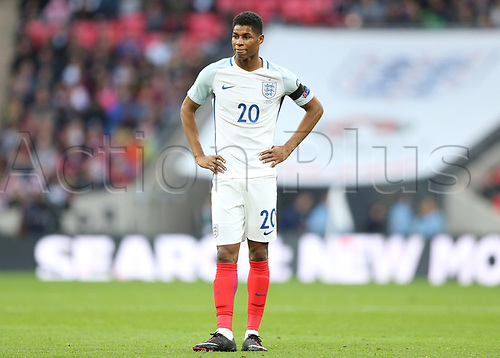 March 26th 2017, Wembley Stadium, London, England; World Cup 2018 Qualification football, England versus Lithuania; Marcus Rashford of England looks on