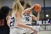 Har-Ber forward Sophie Nelson (15) rebounds, Friday, February 7, 2020 during a basketball game at Wildcat Arena at Har-Ber High School in Springdale. Check out nwaonline.com/prepbball/ for today's photo gallery.<br /> (NWA Democrat-Gazette/Charlie Kaijo)