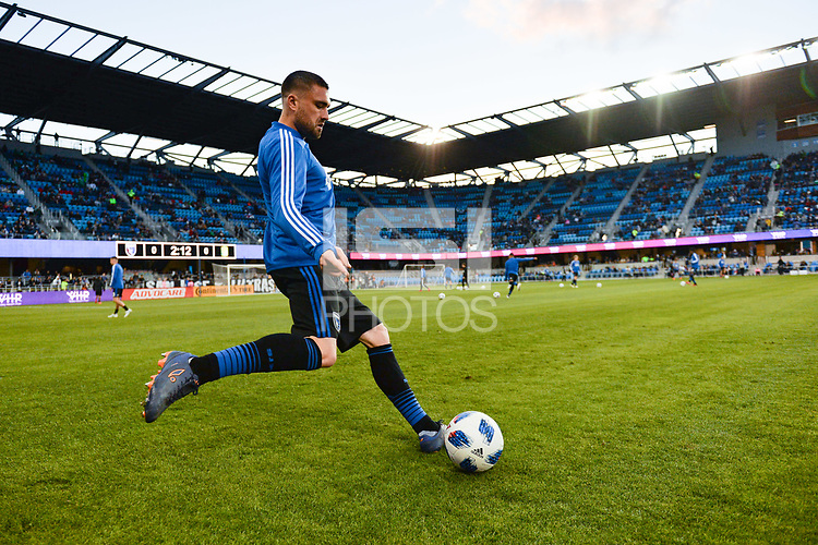 San Jose, CA - Saturday March 24, 2018: Matt Bersano during an international friendly between the San Jose Earthquakes and Club Leon FC at Avaya Stadium.