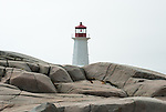 The lighthouse at Peggy's Cove, Nova Scotia, with imposing rock foreground