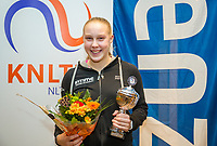 Hilversum, Netherlands, December 3, 2017, Winter Youth Circuit Masters, 12,14,and 16, years, prizegiving 16 years<br /> , 2nd place girls : Melissa Boyden. <br /> Photo: Tennisimages/Henk Koster
