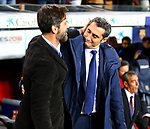 25th September 2018, Camp Nou, Barcelona, Spain; Copa del Rey football, quarter final, second leg, Barcelona versus Espanyol; Enrique Sanchez Flores and Ernesto Valverde hanschake before game