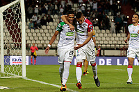 MANIZALES - COLOMBIA, 06-09-2018: David Lemos (#28)  jugador de Once Caldas celebra después de anotar el tercer gol de su equipo al Deportivo Cali durante partido por la fecha 8 de Liga Águila II 2018 jugado en el estadio Palogrande de la ciudad de Manizales. / David Lemos (#28) player of Once Caldas celebrates after scoring the third goal of his team to Deportivo Cali aramanga during match for the date 8 of the Aguila League II 2018 played at Palogrande stadium in Manizales city. Photo: VizzorImage / Santiago Osorio / Cont
