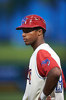 Clearwater Threshers Luis Espiritu, Jr. (29) coaching first during the first game of a doubleheader against the Jupiter Hammerheads on July 25, 2015 at Bright House Field in Clearwater, Florida.  Jupiter defeated Clearwater 8-5.  (Mike Janes/Four Seam Images)