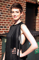 "Anne Hathaway arrives at ""The Late Show"" - New York"