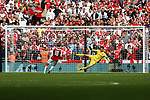 Nacho Monreal of Arsenal scores his penalty during the The FA Community Shield match at Wembley Stadium, London. Picture date 6th August 2017. Picture credit should read: Charlie Forgham-Bailey/Sportimage