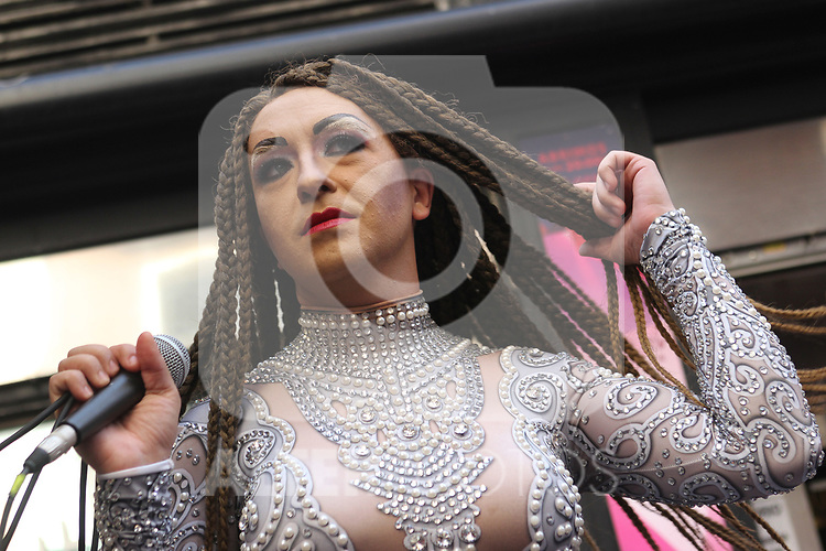 Presenter of the high-heel race as part of Gay Pride month in the neighbourhood of Chueca in Madrid on July 4, 2019.