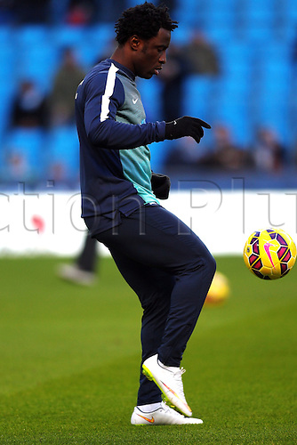 21.02.2015.  Manchester, England. Barclays Premier League. Manchester City versus Newcastle. Wilfried Bony of Manchester City warms up before the game where he intends to make his debut having signed from Swansea City