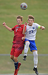 Liberty midfielder Alex Meyer (left) and Columbia midfielder Ryan Lammert leap for a header. They competed in a first-round game of the 64th Annual Bob Guelker/CYC Soccer Tournament at Columbia High School in Columbia, Illinois on Monday September 24, 2018.