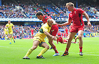 Wales's Luke Morgan is tackled by Australia's James Stannard<br /> <br /> Australia Vs Wales - Men's quarter-final<br /> <br /> Photographer Chris Vaughan/CameraSport<br /> <br /> 20th Commonwealth Games - Day 4 - Sunday 27th July 2014 - Rugby Sevens - Ibrox Stadium - Glasgow - UK<br /> <br /> © CameraSport - 43 Linden Ave. Countesthorpe. Leicester. England. LE8 5PG - Tel: +44 (0) 116 277 4147 - admin@camerasport.com - www.camerasport.com