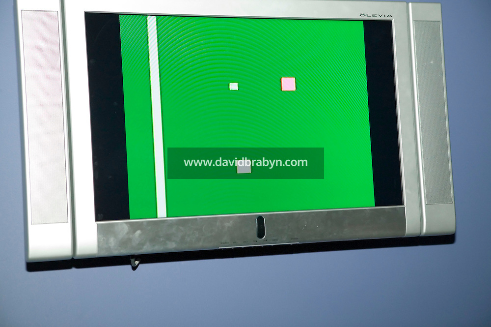 """22 April 2006 - New York City, NY - View of a screen showing the first home video game, invented by Ralph Baer, at the Museum of the Moving Image in New York City, USA, 22 April 2006. In 1968, Baer created the """"Brown Box"""" prototype game system and licensed it to Magnavox, leading to the release of the first publicly available video game console, the Odyssey TV Game. Photo Credit: David Brabyn"""