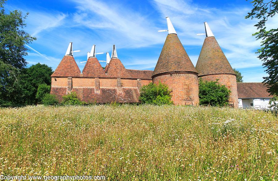 Historic oast house buildings at Sissinghurst castle gardens, Kent, England, UK
