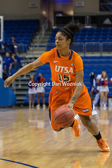 UTSA Roadrunners guard Simone Young (15) in action during the game between the UTSA Roadrunners and the Texas Arlington Mavericks at the College Park Center arena in Arlington, Texas. UTSA defeats UTA 59 to 57....