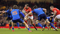 Jamie Roberts of Wales (C) against Maxine Medard (L) and Alexandre Flanquart of France (R) during the Wales v France, 2016 RBS 6 Nations Championship, at the Principality Stadium, Cardiff, Wales, UK