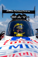 Aug 31, 2014; Clermont, IN, USA; NHRA top fuel driver Morgan Lucas during qualifying for the US Nationals at Lucas Oil Raceway. Mandatory Credit: Mark J. Rebilas-USA TODAY Sports