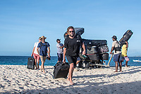 /NAMOTU, Fiji (Saturday, June 3, 2017) Bede Durbidge (AUS), Adrian Buchan (AUS), Mick Fanning (AUS) and Matt Wilkinson (AUS) arriving on Namotu Is. - The Outerknown Fiji Men&rsquo;s Pro, Stop No. 5 on the 2017 World Surf League (WSL) Championship Tour (CT) will kick off tomorrow and as the surfers start to arrive in Fiji a number were out a Cloudbreak today taking advantage of the rising swell.<br /> At first light it was in the 3' range but as the tide started to fill in after the 8am low it jumped to a clean 4'-5'.<br /> Photo: joliphotos.com