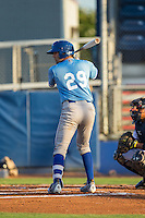 Chase Livingston (29) of the Burlington Royals at bat against the Danville Braves at American Legion Post 325 Field on August 16, 2016 in Danville, Virginia.  The game was suspended due to a power outage with the Royals leading the Braves 4-1.  (Brian Westerholt/Four Seam Images)