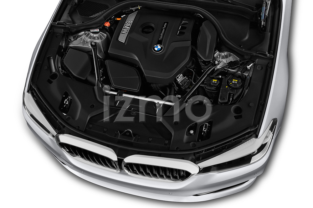 Car stock 2018 BMW 5 Series 530i 4 Door Sedan engine high angle detail view
