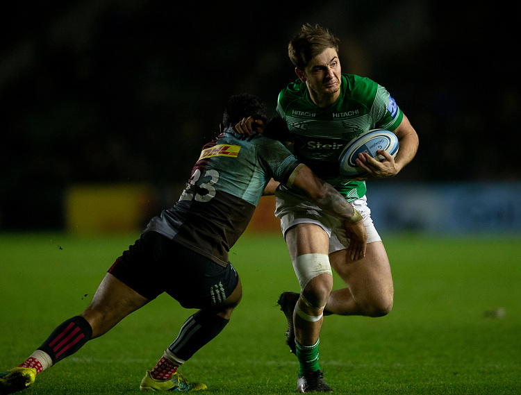 Newcastle Falcons' Ben Stevenson is tackled by Harlequins' Francis Saili<br /> <br /> Photographer Bob Bradford/CameraSport<br /> <br /> Gallagher Premiership Round 7 - Harlequins v Newcastle Falcons - Friday 16th November 2018 - Twickenham Stoop - London<br /> <br /> World Copyright © 2018 CameraSport. All rights reserved. 43 Linden Ave. Countesthorpe. Leicester. England. LE8 5PG - Tel: +44 (0) 116 277 4147 - admin@camerasport.com - www.camerasport.com