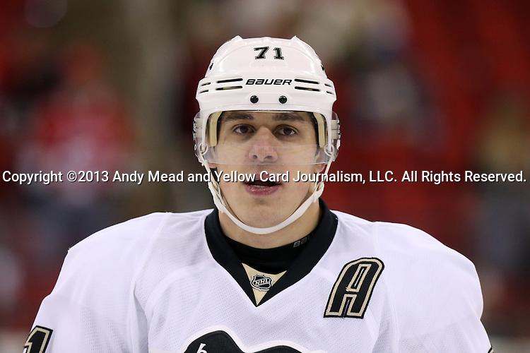 28 October 2013: Pittsburgh's Evgeni Malkin (RUS). The Carolina Hurricanes played the Pittsburgh Penguins at the PNC Arena in Raleigh, North Carolina in a 2013-2014 National Hockey League regular season game. Pittsburgh won the game 3-1.