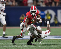 Atlanta, Georgia - December 1, 2018: Mercedes-Benz Stadium, the number 1 ranked University of Alabama Crimson Tide and the number 4 ranked Georgia Bulldogs for the SEC Championship.