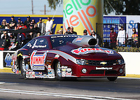 Feb. 22, 2013; Chandler, AZ, USA; NHRA pro stock driver Greg Anderson during qualifying for the Arizona Nationals at Firebird International Raceway. Mandatory Credit: Mark J. Rebilas-