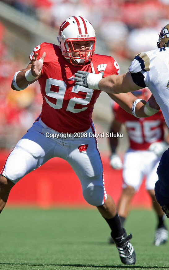 MADISON, WI - AUGUST 30: Defensive lineman Matt Shaughnessy #92 of the Wisconsin Badgers plays defense against the Akron Zips at Camp Randall Stadium on August 30, 2008 in Madison, Wisconsin. The Badgers beat the Zips 38-17. (Photo by David Stluka)