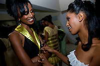 Two contenders for the crown chat back stage during the 2009 MIss Ethiopia beauty pageant held at the Intercontinental Hotel in Ethiopia's Capital Addis Ababa on Sunday January 18 2009.