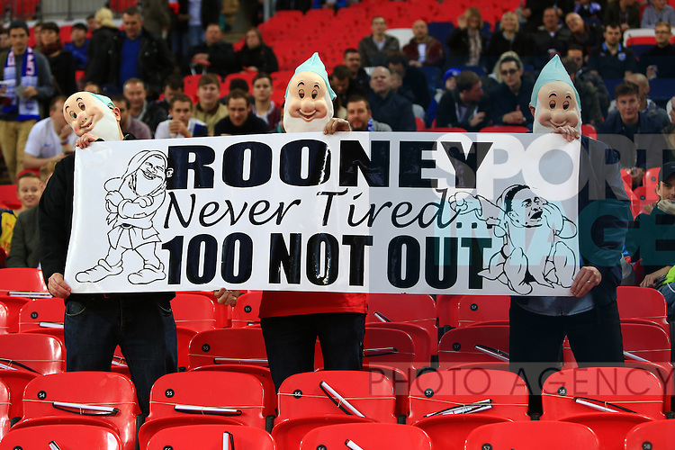 England fans hold up a banner for Wayne Rooney's 100th cap - England vs. Slovenia - UEFA Euro 2016 Qualifying - Wembley Stadium - London - 15/11/2014 Pic Philip Oldham/Sportimage