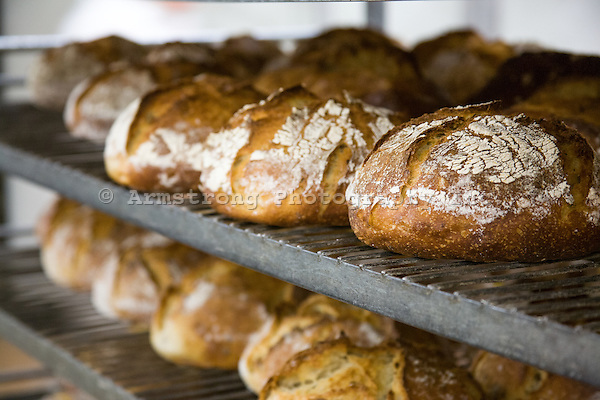 Loaves of artisan bread cooling on racks in a bakery.