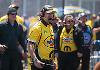 Apr 14, 2019; Baytown, TX, USA; Crew chief Neil Strasbaug for NHRA top fuel driver Leah Pritchett during the Springnationals at Houston Raceway Park. Mandatory Credit: Mark J. Rebilas-USA TODAY Sports