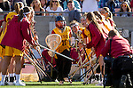 Los Angeles, CA 02/09/13 - Liz Shaeffer (USC #11) takes the field for USC's inaugural game against Northwestern.