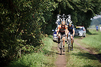 the 2 race leaders Maurits Lammertink (NLD/Roompot) &amp; Sjoerd Kouwenhoven (NLD/Metec-TKH) hitting the dirt<br /> <br /> 90th Schaal Sels 2015