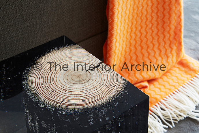 A table with a cut tree trunk set in perspex; beside it drapes an orange woollen throw with a fringe.