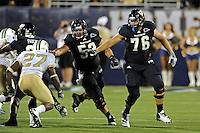 17 September 2011:  FIU offensive lineman Giancarlo Revilla (53) and offensive lineman Shae Smith (76) block in the second half as the FIU Golden Panthers defeated the University of Central Florida Golden Knights, 17-10, at FIU Stadium in Miami, Florida.