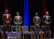 September 8, 2011 (Washington, DC)  Howard and Morehouse students take part in breakout seesion of The Presidential Symposium: Beyond the Stereotypes-Academics, Athletics, Character and Black Male Achievement held at Howard University's Crampton Auditorium.   The symposium, presented by Howard University and Morehouse College, was a day-long discussion that included scholars, students, actors and sports columnists, and preluded the AT&T Nations Football Classic between Howard and Morehouse.  (L-R) Ryan Boles, Morehouse College; Travis Randle, President, Morehouse College Student Government Association; Derrien Hinton, Vice-President, Howard University Student Government Association; Brandon Harris, President, Howard University Student Government Association.   (Photo by Don Baxter/Media Images International)