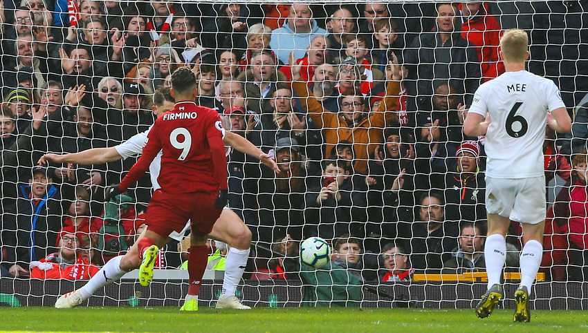 Liverpool's Roberto Firmino scores his side's third goal <br /> <br /> Photographer Alex Dodd/CameraSport<br /> <br /> The Premier League - Liverpool v Burnley - Sunday 10th March 2019 - Anfield - Liverpool<br /> <br /> World Copyright © 2019 CameraSport. All rights reserved. 43 Linden Ave. Countesthorpe. Leicester. England. LE8 5PG - Tel: +44 (0) 116 277 4147 - admin@camerasport.com - www.camerasport.com