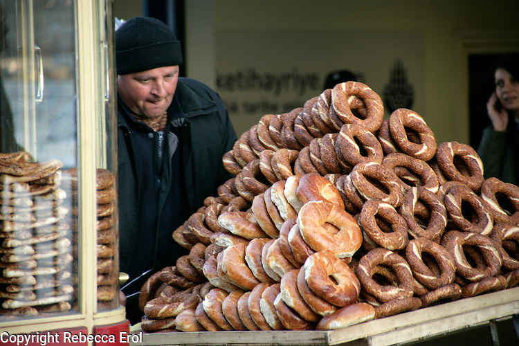 Simit pastry rings for sale at Karakoy, Istanbul, Turkey