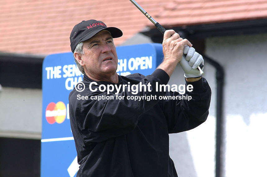 Dave Stockton, professional golfer, USA, drives from the first tee. Taken at British Seniors Open Championship at Royal County Down, Newcastle, N Ireland. Ref: 200107262816..Copyright Image from Victor Patterson, 54 Dorchester Park, Belfast, UK, BT9 6RJ..Tel: +44 28 9066 1296.Mob: +44 7802 353836.Voicemail +44 20 8816 7153.Skype: victorpattersonbelfast.Email: victorpatterson@mac.com.Email: victorpatterson@ireland.com (back-up)..IMPORTANT: If you wish to use this image or any other of my images please go to www.victorpatterson.com and click on the Terms & Conditions. Then contact me by email or phone with the reference number(s) of the image(s) concerned.