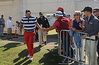 Patrick Reed (USA) shakes hands as he approaches the first tee during round 4 Singles of the 2017 President's Cup, Liberty National Golf Club, Jersey City, New Jersey, USA. 10/1/2017. <br /> Picture: Golffile | Ken Murray<br /> <br /> All photo usage must carry mandatory copyright credit (&copy; Golffile | Ken Murray)