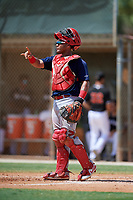 GCL Cardinals catcher Ivan Herrera (32) signals to the defense during a game against the GCL Marlins on August 4, 2018 at Roger Dean Chevrolet Stadium in Jupiter, Florida.  GCL Marlins defeated GCL Cardinals 6-3.  (Mike Janes/Four Seam Images)